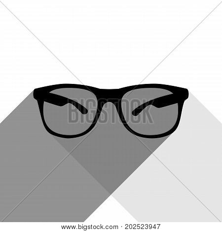 Sunglasses sign illustration. Vector. Black icon with two flat gray shadows on white background.