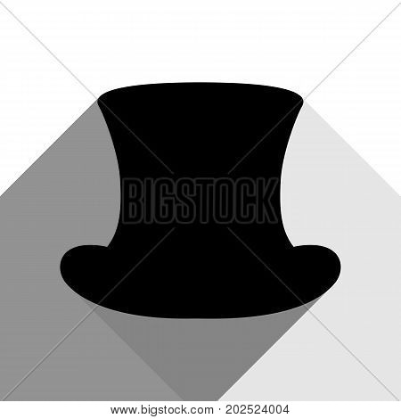 Top hat sign. Vector. Black icon with two flat gray shadows on white background.