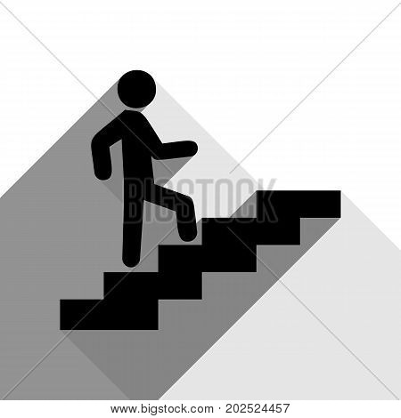 Man on Stairs going up. Vector. Black icon with two flat gray shadows on white background.