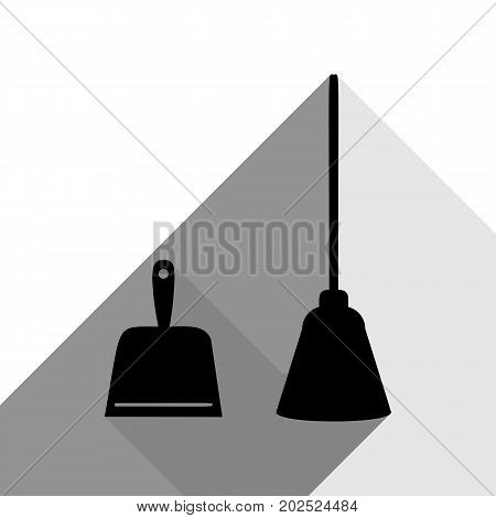 Dustpan vector sign. Scoop for cleaning garbage housework dustpan equipment. Vector. Black icon with two flat gray shadows on white background.