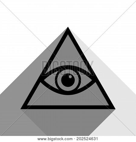 All seeing eye pyramid symbol. Freemason and spiritual. Vector. Black icon with two flat gray shadows on white background.