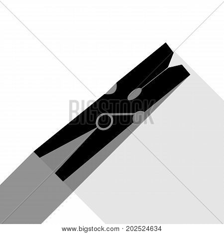 Clothes peg sign. Vector. Black icon with two flat gray shadows on white background.