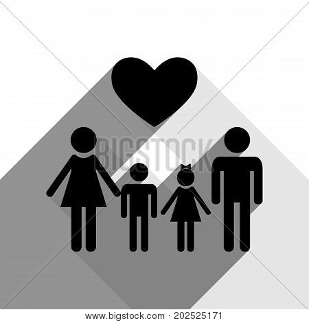 Family symbol with heart. Husband and wife are kept children's hands. Vector. Black icon with two flat gray shadows on white background.