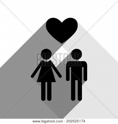 Family symbol with heart. Husband and wife are kept each other's hands. Love. Vector. Black icon with two flat gray shadows on white background.