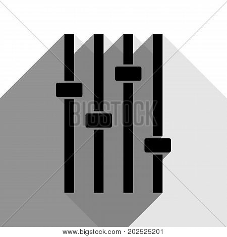 Adjustment music line sign. Vector. Black icon with two flat gray shadows on white background.