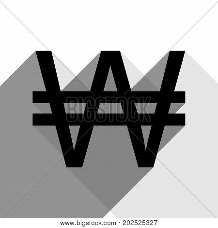 Won sign. Vector. Black icon with two flat gray shadows on white background.