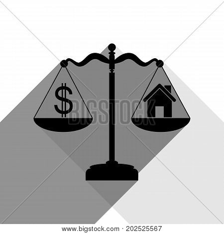 House and dollar symbol on scales. Vector. Black icon with two flat gray shadows on white background.