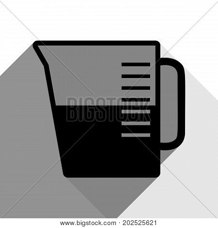 Beaker sign. Vector. Black icon with two flat gray shadows on white background.
