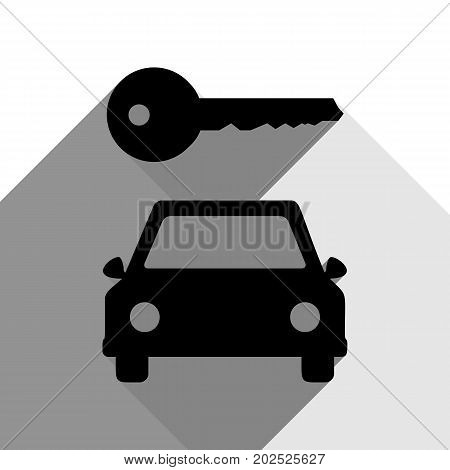 Car key simplistic sign. Vector. Black icon with two flat gray shadows on white background.