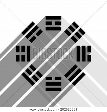 Bagua sign. Vector. Black icon with two flat gray shadows on white background.