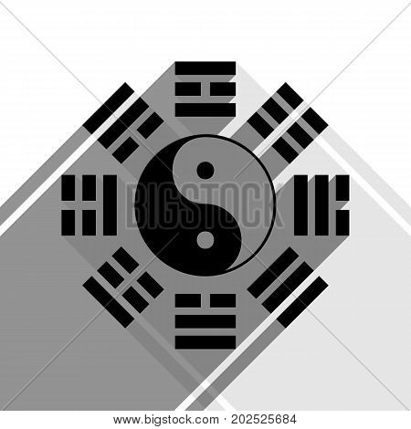 Yin and yang sign with bagua arrangement. Vector. Black icon with two flat gray shadows on white background.