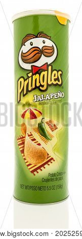 Winneconne WI - 1 September 2017: A tube of Pringles in Jalapeno flavor on an isolated background.