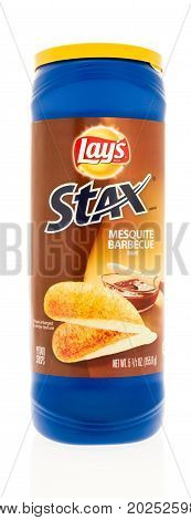Winneconne WI - 1 September 2017: A tube of Stax in Mesquite Barbecue flavor on an isolated background.