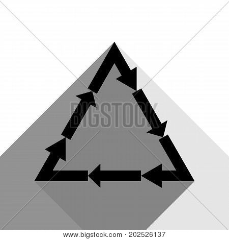 Plastic recycling symbol PVC 3 , Plastic recycling code PVC 3. Vector. Black icon with two flat gray shadows on white background.