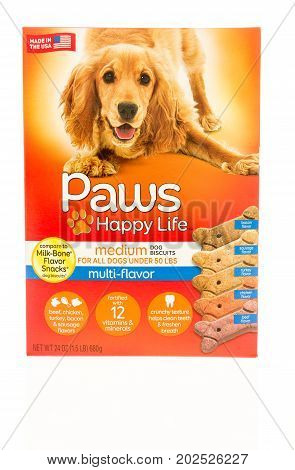 Winneconne WI - 1 September 2017: A box of Paws happy life dog treats on an isolated background.