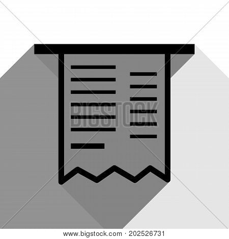 Paying bills concept. Payment of utility, bank, restaurant and other bills sign illustration. Vector. Black icon with two flat gray shadows on white background.