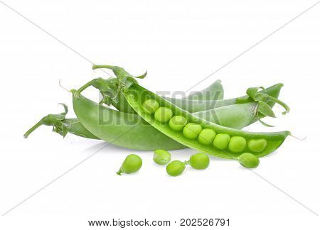 sugar peas isolated on the white background