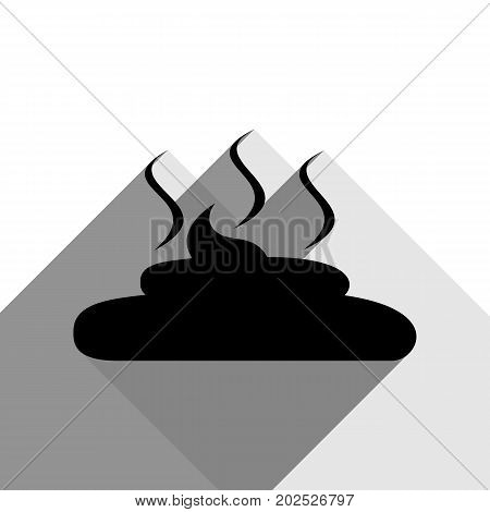 Simple Poop sign illustration. Vector. Black icon with two flat gray shadows on white background.