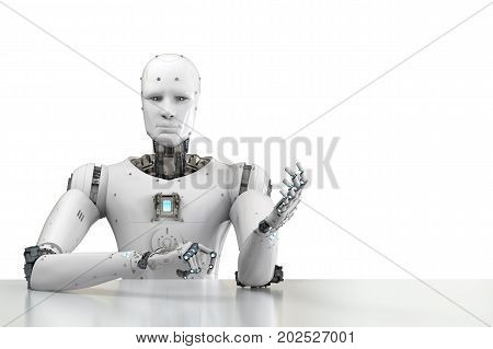 Robot Sitting Behind Table