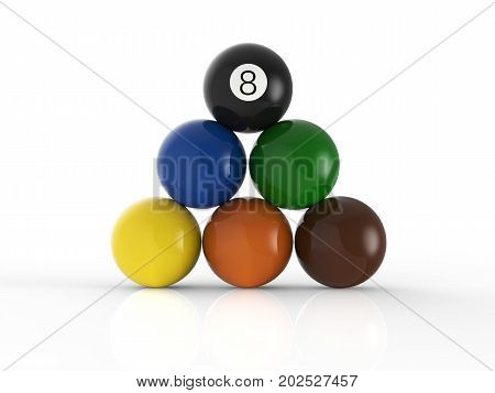 3d rendering billiard balls pyramid with eight ball on top