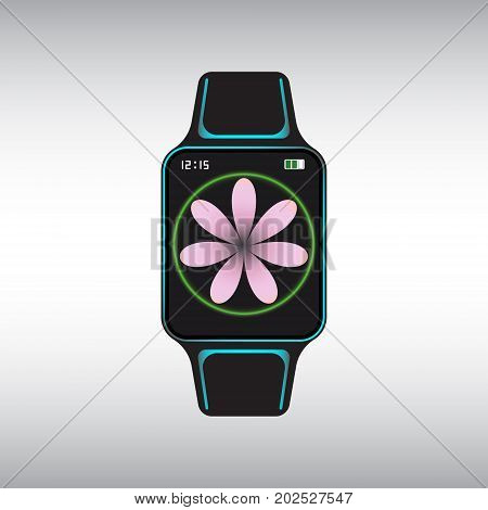 Black smart watch with pink flower decor. Isolated smart watch sign. Smart watch flat vector icon.