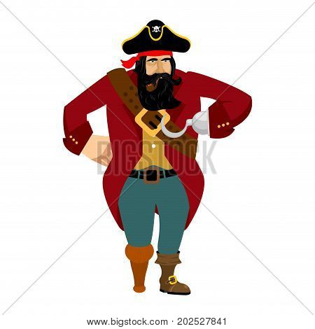 Pirate isolated. Eye patch and smoking pipe. filibuster cap. Bones and Skull. Head corsair black beard. buccaneer Wooden foot