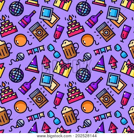 Party seamless pattern with objects in line style, nigth life vector illustration