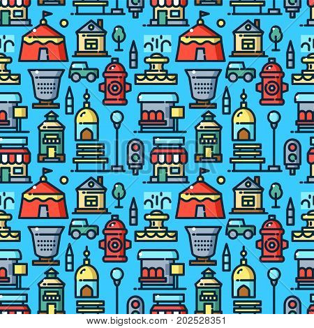City environtment seamless pattern with objects in line style, outdoor vector illustration
