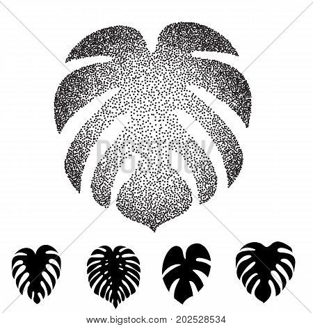 Halftone Dotted Monstera leaf  illustration. Exotic tropical plant silhouettes
