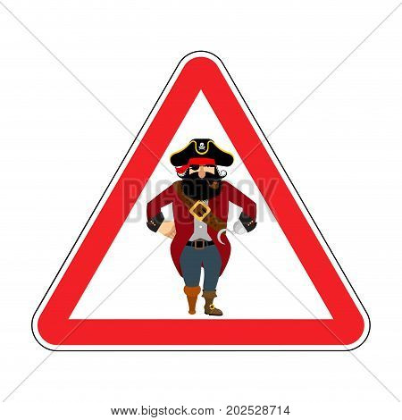 Attention Pirate. Red Warning Sign Rover. Caution Filibuster