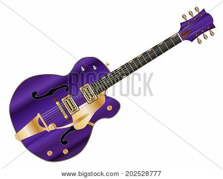 A typical country and western guitar in purple over a white background