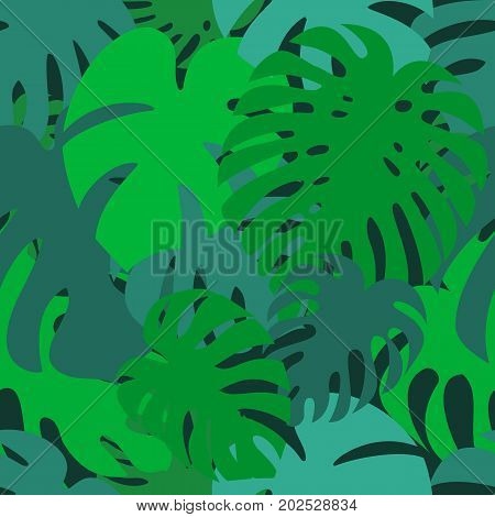 Monstera leaf  seamless patern. Exotic tropical plant silhouettes