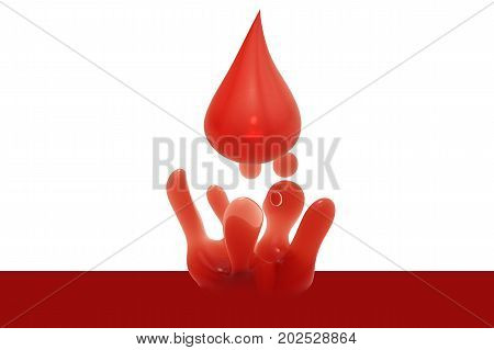 3d rendering droplet of blood on white background