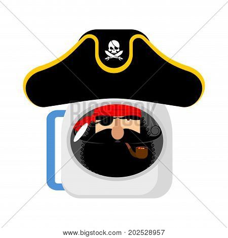 Space Pirate Astronaut In Helmet. Filibuster Spaceman. Eye Patch And Smoking Pipe. Pirates Cap. Bone