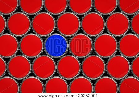 creativity concept with 3d rendering one blue bucket in all red buckets