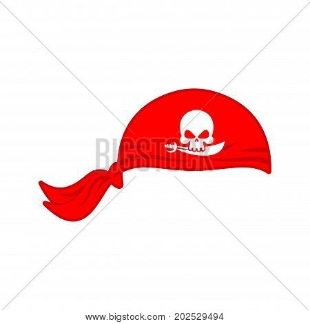 Pirates Red Bandana Cap Isolated. Hat Buccaneer. Bones And Skull. Corsair Accessory