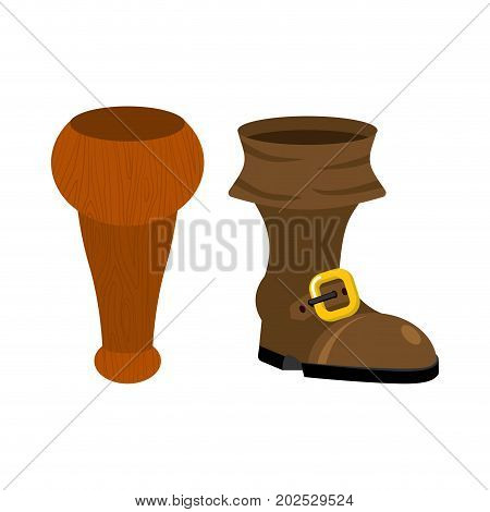 Wooden Pirate Leg And Boot. Wood Filibuster Prosthesis. Filibuster Footwear