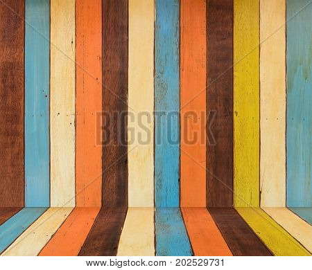 colorful wooden backdrop painted in retro style