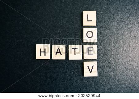 Love And Hate Words On A Wood Blocks, Focus On The Foreground With Filter And Analog Effect