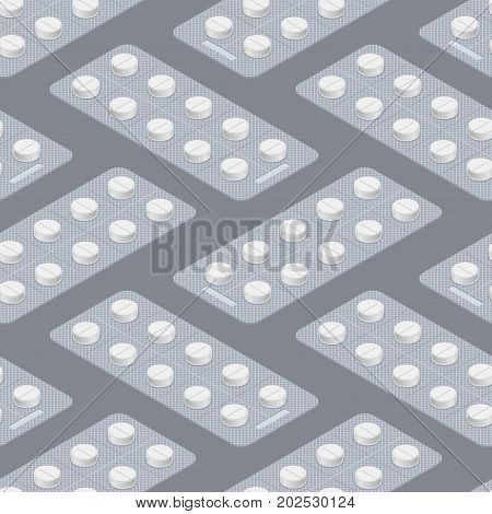 Tablets Blister Seamless Pattern. Medical Pill Background. Medicine Tablet Texture