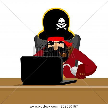 Web Pirate And Laptop. Internet Hacker And Pc. Buccaneer And Computer. Eye Patch And Smoking Pipe. P