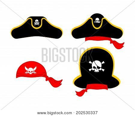 Pirates Cap Set. Hat Buccaneer. Bones And Skull. Corsair Accessory