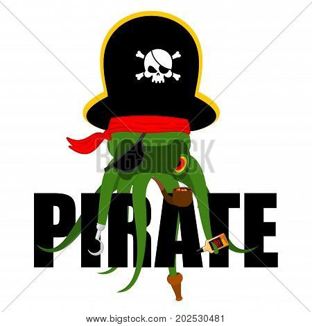 Octopus pirate. poulpe buccaneer. Eye patch and smoking pipe. pirates cap. Bones and Skull. See animal filibuster poster