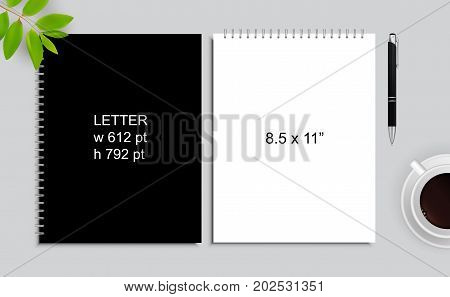 Spiral binding notebook or notepad and pen isolated. Sketchbook or diary ISO 216 Letter standart. Realistic illustration