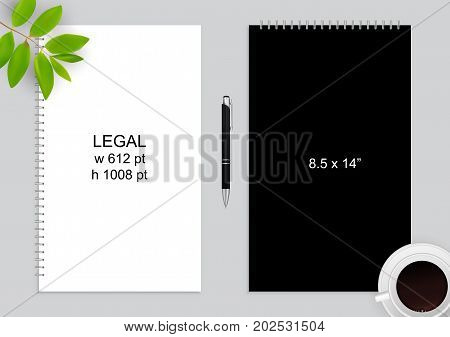 Spiral binding notebook or notepad and pen isolated. Sketchbook or diary ISO 216 Legal standart. Realistic illustration