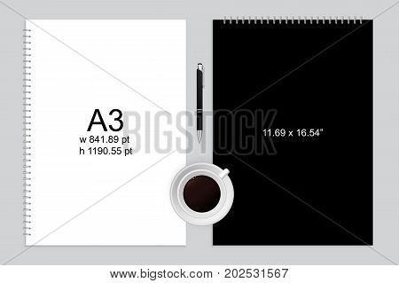 Spiral binding notebook or notepad and pen isolated. Sketchbook or diary ISO 216 A3 standart. Realistic illustration