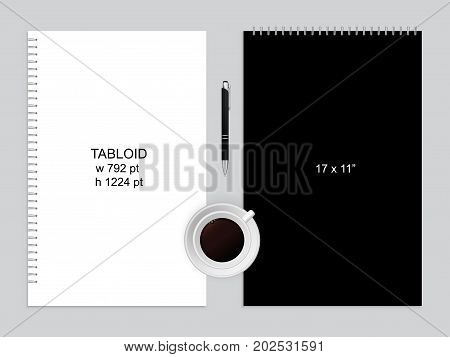 Spiral binding notebook or notepad and pen isolated. Sketchbook or diary ISO 216 Tabloid standart. Realistic illustration