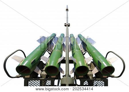 Four missiles of self-propelled system Buk M2 isolated on a white background