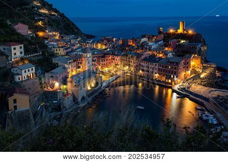 Vernazza Italy during the blue hour just after sunset