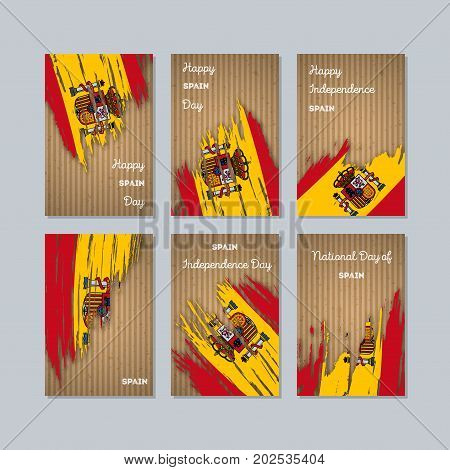 Spain Patriotic Cards For National Day. Expressive Brush Stroke In National Flag Colors On Kraft Pap
